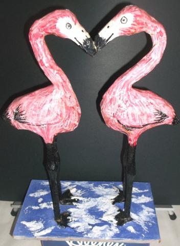 paper cache flamingos