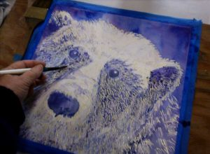 Susan working on her Polar bear for the Art Clan project.