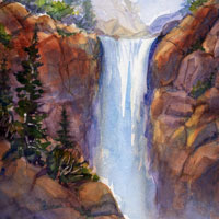 Watercolor waterfalls by Susan Barry